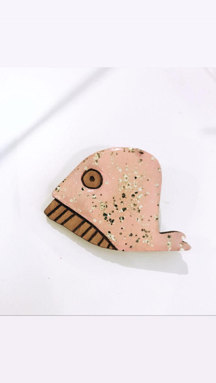Broche Baleine rose/dorée - MorganedcBijoux
