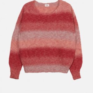 pull maille jersey bicolore rouge